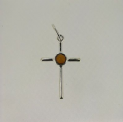 Sterling silver cognac amber set cross pendant